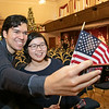 Leominster held its first ever naturalization ceremony on Tuesday, Dec. 17, 2019. 266 individuals became American citizens in a ceremony at City Hall. Taking a selfie is William Leavenworth with his wife Yiran Li, who just swore in, from China. They both live in Reading. SENTINEL & ENTERPRISE/JOHN LOVE