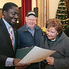 Leominster held its first ever naturalization ceremony on Tuesday, Dec. 17, 2019. 266 individuals became American citizens in a ceremony at City Hall. Lawrence Nfor shows his certificate to Allan and Dollie Bancroft of Pepperell. They go to the same church and they are such good friends that Nfor and his family call them their American Mother and Father. SENTINEL & ENTERPRISE/JOHN LOVE