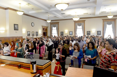 Tania Barricklo-Daily Freeman  Upwards of thirty countries were represented Friday at the Naturalization ceremony held at the Ulster County Court in Kingston where they were sworn in as Americans by Honorable James P. Gilpatric.