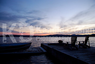 Sunset on the Dock in Maine.