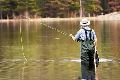 Fly Fisherman Rocky Mountain National Park, Colorado