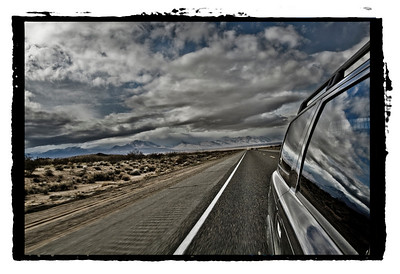 Convergency drive. The way to Mammoth, California.