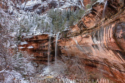 Zion in Winter-Emerald Falls 2