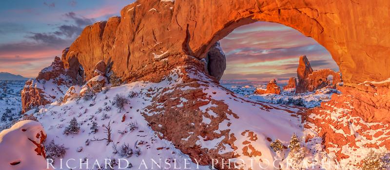 Windows Winter Sunrise (pano)-Arches NP, Utah