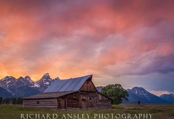 Blazing Sunset Over Mormon Row-Grand Teton NP, Wyoming