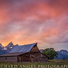 Blazing Sunset Over Mormon Row-Tetons