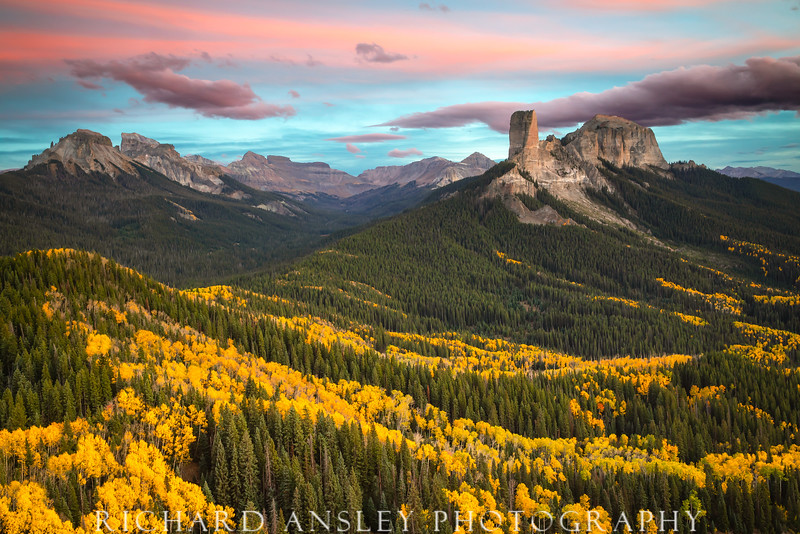 Chimney Rock Sunset-San Juan mountains, Colorado