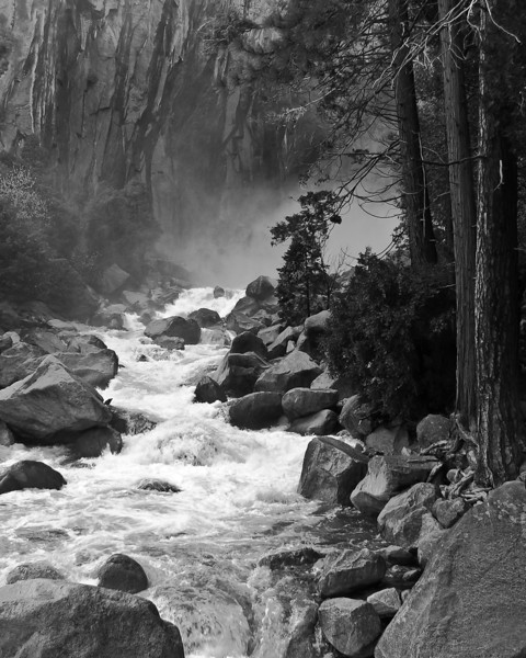 The rapids leading away from Lower Yosemite Falls, May 2008.