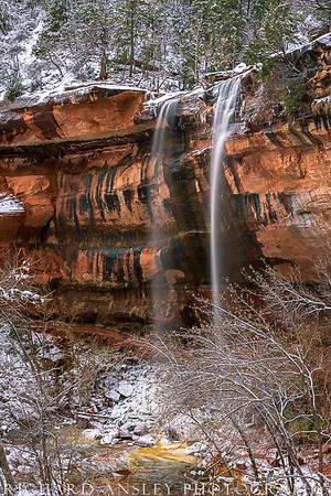 Zion in Winter-Emerald Falls 1 (vertical) Zion NP, Utah