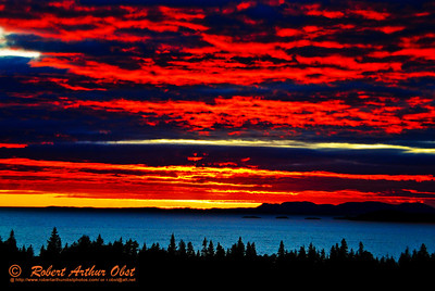 Scarlet sunset over Lake Superior sets entire sky on fire from Pukaskwa National Park's Southern Headland Trail (Canada, ON)