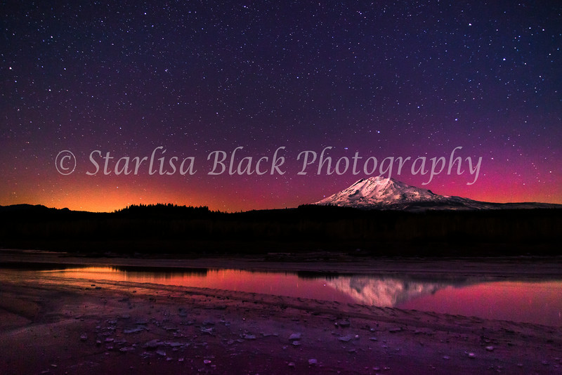 Aurora Glow, Beyond the Cold Just a hint of Aurora filled the night sky with a lovely glow on this calm frozen night in Trout Lake, Washington.  Mount Adams shone brightly with the glow on new snow. December 7, 2013