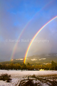 Double Winter Rainbow over Underwood and the White Salmon River.
