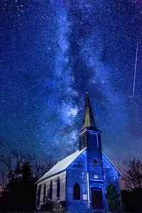 Locust Grove Church  Perseid Meteors and Milky Way bring light to the night sky