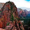 The Angels Landing Trail is one of the most famous and thrilling hikes in the national park system. Zion's pride and joy runs along a narrow rock fin with dizzying drop-offs on both sides. The trail culminates at a lofty perch, boasting magnificent views in every direction. Rarely is such an intimidating path so frequented by hikers.