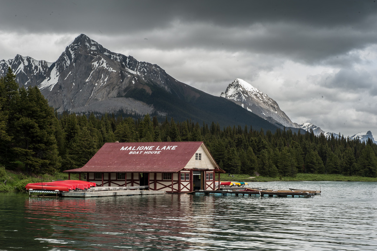 Boat House view from the Cafe at Maligne Lake