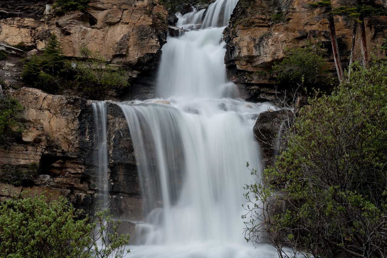 Waterfall off the highway 93 on the way to Lake Louise from Jasper