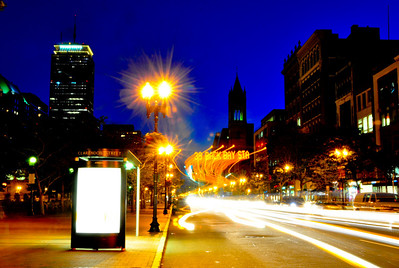"Downtown Boston.  Can you tell how I got the ""39 BACK BAY STA"" light sign in the middle of the photo?"