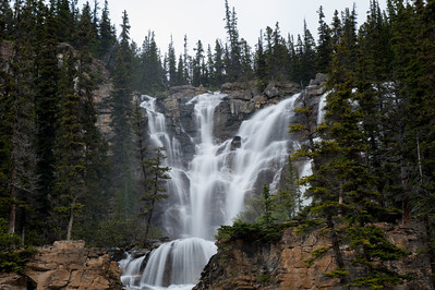 Waterfall off the highway 93 on the way to Lake Louise to Jasper