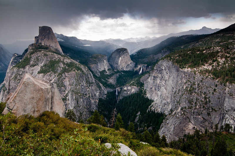 A view of the Yosemite Valley with strom approaching - taken from Panorama trail.