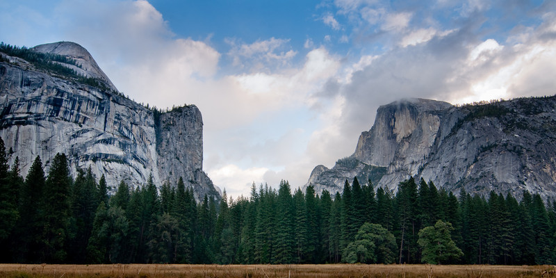 Yosemite, a view of El Capitain and Half-dome from the Village
