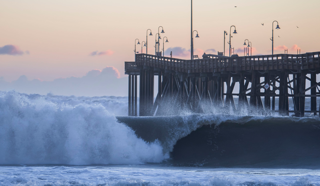 Nature's power created by an El Nino storm at sunset. This is located at the Ventura Pier in Ventura, Calif. This was taken Thursday afternoon of January 7, 2016. (© Erica Jacques 2016)