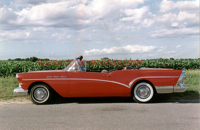Red Car at cornfield