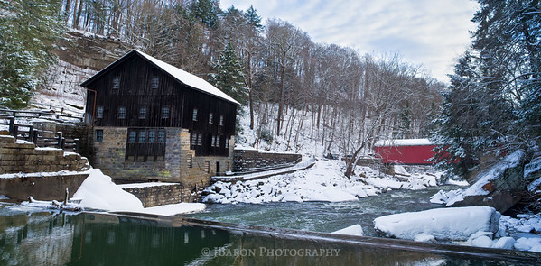 Snowy McConnells Mill and Covered Bridge