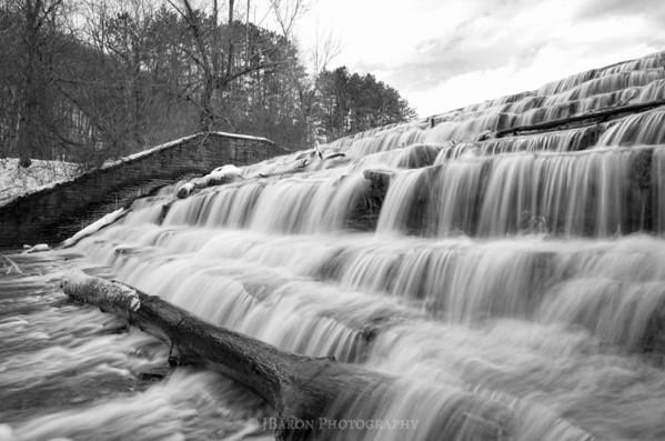 Wintertime Marshall Lake Waterfall - Monochrome