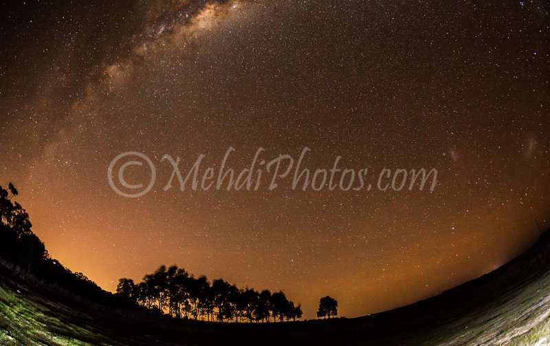 Milky way over a dry lake towards Colac place near Geelong.