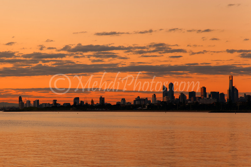 Elwood beach, 21 August 2011, last sunset of my grandfather's life :(<br /> Melbourne CBD in the background.