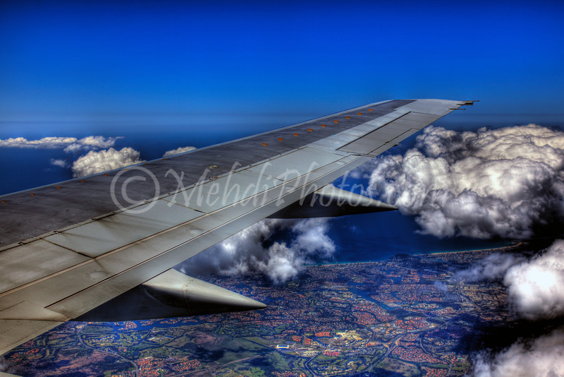 Onboard QF614, VH-TJR, approaching Brisbane Airport RWY 01