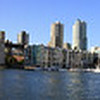 Panorama of Granville Island, looking at Vancouver down town. Canada.
