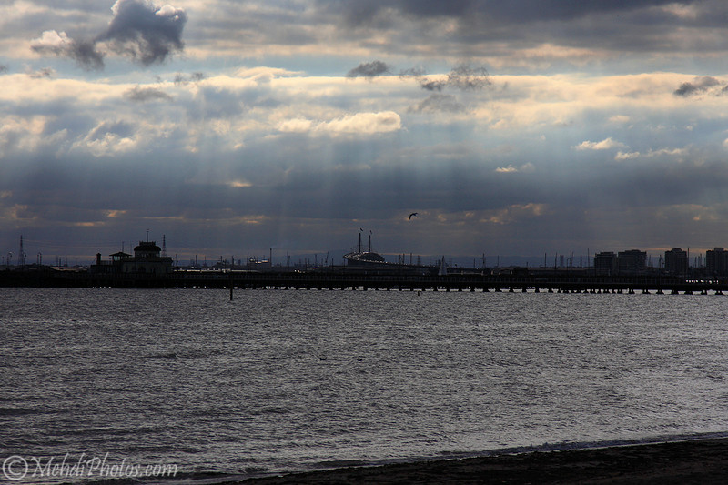Rays of light, St Kilda Beach, Melbourne, AU.