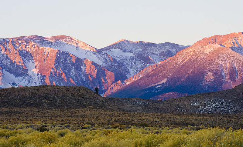 October Sunrise on the Eastern Sierra.  Copyright, ©2008, James McGrew   I arrived at South Tufa by moonlight, several hours before sunrise with the temperatures in the high teens, making it difficult for much dexterity of my fingers and the functionality of the digital cameras.  But it was a beautiful morning, well worth the extreme cold.