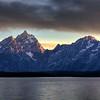 Sunset on Tetons over Lake Jackson