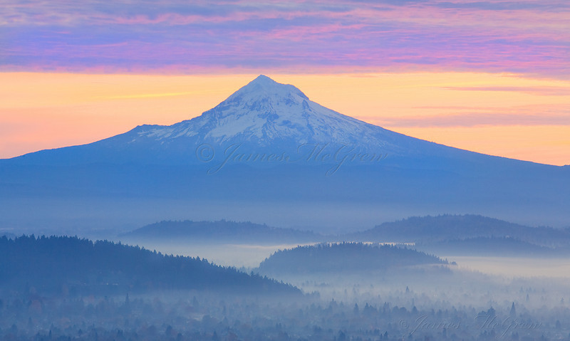 Dawn over Mt. Hood from the Pittock Mansion.  Copyright, ©2008, James McGrew