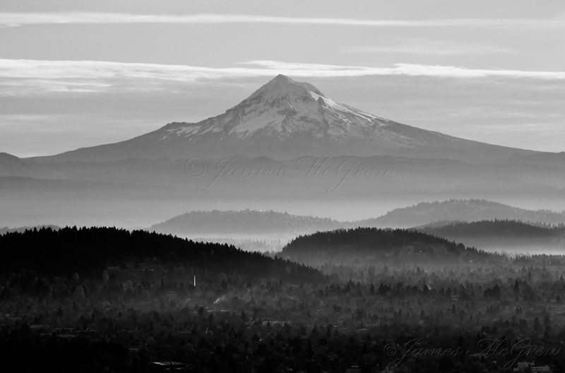 Mt. Hood from the Pittock Mansion, Morning, BW.  Copyright, ©2008, James McGrew