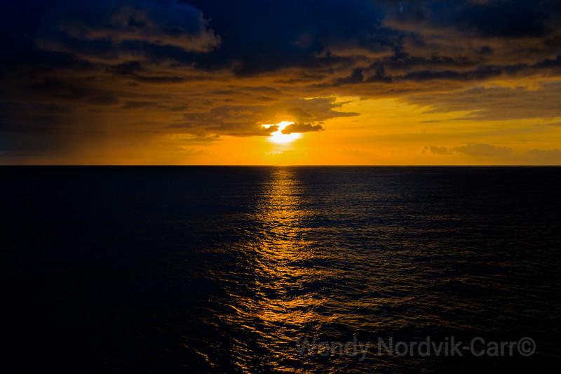 Golden Caribbean sunset in Bahamas tropical paradise