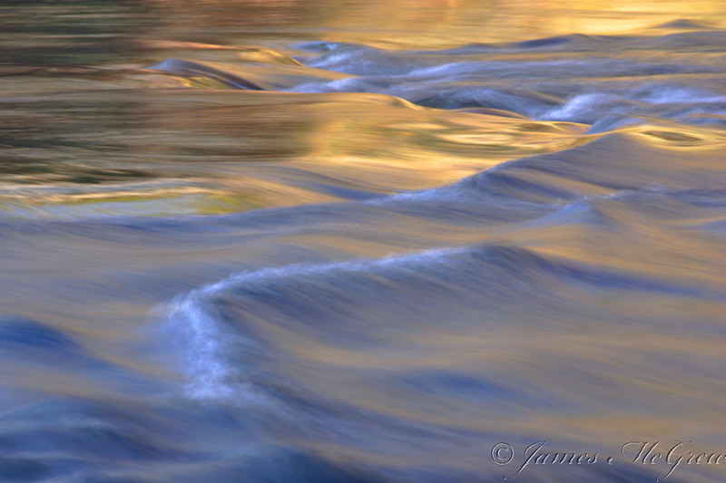 """""""Silky Waters"""" (Tuolumne River Abstract).   Copyright, ©2007  James McGrew"""