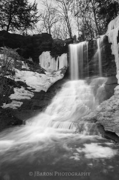 Wintertime Fall Run Waterfall