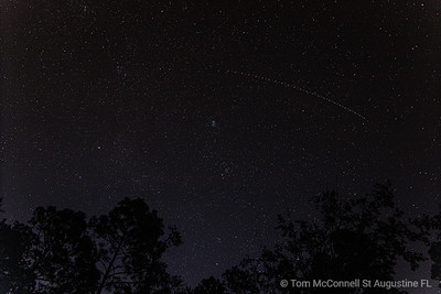 Airplane Trails on Stars, St. Johns River, St. Johns County, Florida