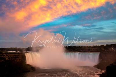 Sunset Glow Over the Falls