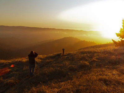 Viewing the sunset, Long Ridge OSP.