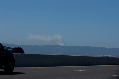 And here's what the burn looked like at 10:40 a.m. from the Dumbarton Bridge (thanks to docent friend Debbi Brusco).