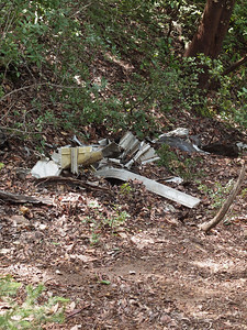 Debris from the 1953 Resolution DC-6 crash, off Resolution Trail at El Corte de Madera Creek OSP, 30 March 2011.