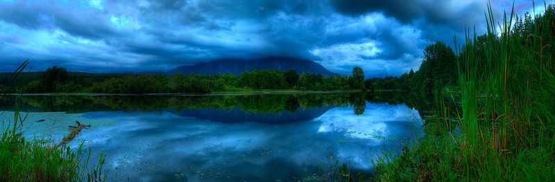 Moody Clouds over Mount Si seen from Borst Lake