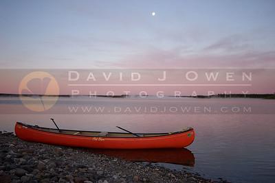 081106-006 1 Sunrise, moon and canoe