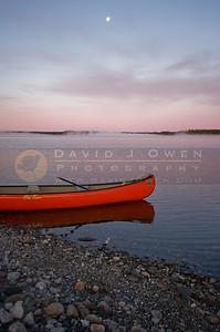 081106-007 Sunrise, moon and canoe