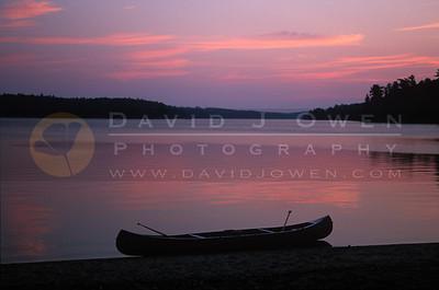 15497V Sturgeon Lake sunrise and canoe
