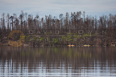 20120604-005 Lake Insula canoes and burn reflection